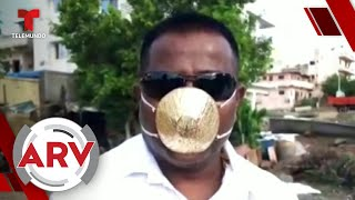 Hombre se protege del COVID-19 con mascarilla hecha de oro | Al Rojo Vivo | Telemundo