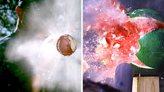 POTATO GUN vs. WATERMELON  in SLOW MOTION - Smarter Every Day 155