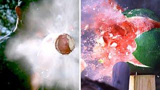 POTATO GUN vs. WATERMELON  in SLOW MOTION - Smarter Every Day 155