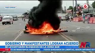 Gobierno y manifestantes logran acuerdo para levantar bloqueos en la zona sur