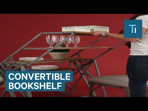 This Bookshelf Converts Into A Table For Ultimate Style And Storage