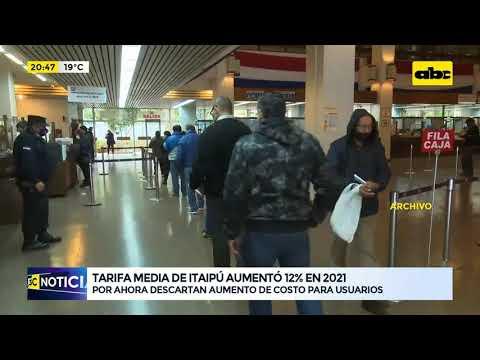 Tarifa media de Itaipú para la ANDE aumentó 12% en 2021