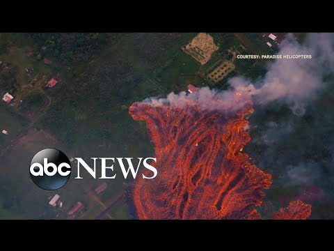 The first lava flows from Kilauea reaching Pacific