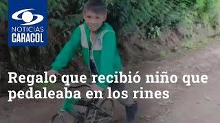 Regalo que recibió niño que pedaleaba en los rines evidenció la triste realidad de su familia