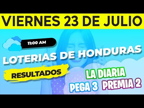 Sorteo 11AM Loto Honduras, La Diaria, Pega 3, Premia 2, Viernes 23 de Julio del 2021 | Ganador