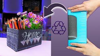 Organizador y florero Doble uso solo con una caja de cartón - Reutiliza y decora