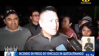 Incendio en predio de vehículos en Quetzaltenango