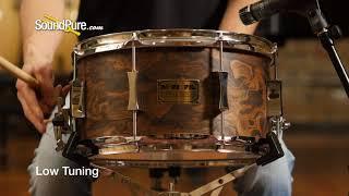 Pork Pie 7x13 Maple Snare Drum Walnut Roots Veneer Quick 'n' Dirty
