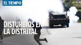 Confrontaciones entre el Esmad y encapuchados en cercani?as de la Universidad Distrital