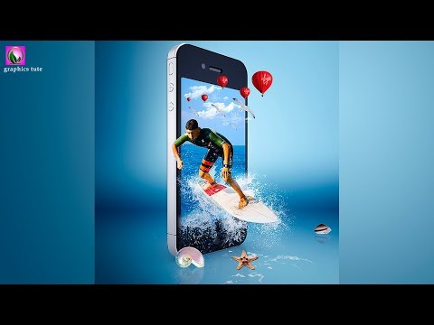 3D Sea Splash On Mobile(3D Out Of Frame) Photo Manipulation In Photoshop - Photoshop Tutorial