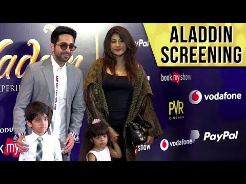 Ayushmann Khurrana With Wife Tahira, Kids Virajveer And Varushka At Aladdin Special Screening