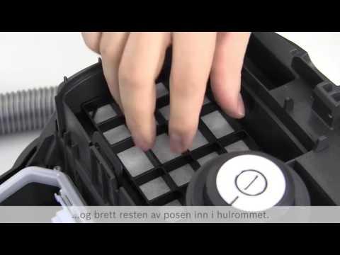 Hvordan bytter jeg støvsugerpose og renser filteret i støvsugeren?