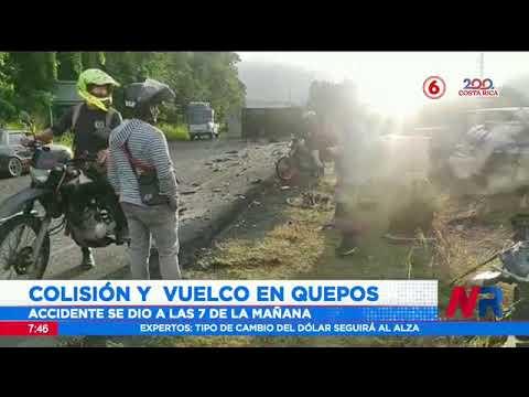 Reportan colisión y vuelco en Quepos