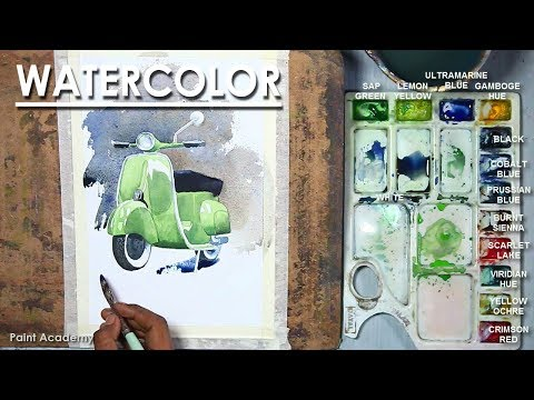Watercolor Painting : Scooter