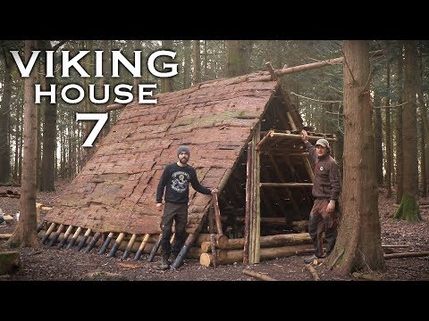 Viking Camp - First Night in the Viking House: Bushcraft Project (PART 7)