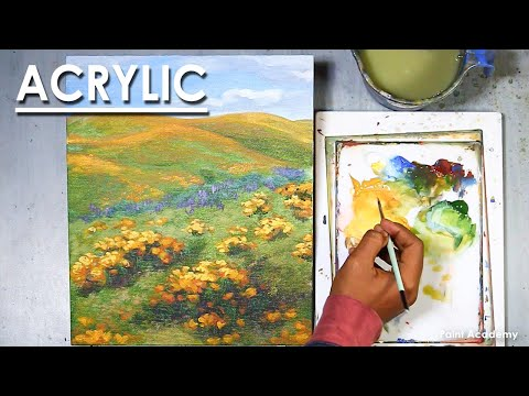 Nature with Green Grass and Spring Flowers Mountain – Acrylic Painting