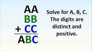 Can You Solve This? AA + BB + CC = ABC