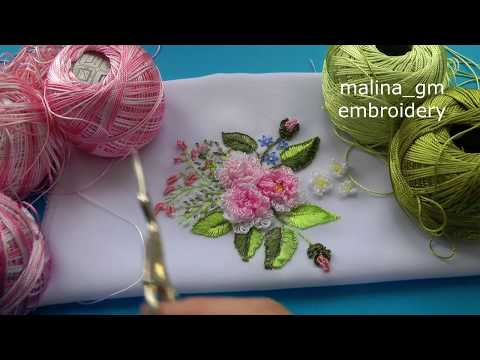 Brazilian embroidery | ROSE Cast-on stitch| Бразильская  вышивка: РОЗА
