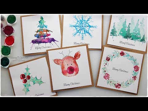 6 NEW Watercolor Christmas Card Ideas for Beginners ♡ Maremi's Small Art ♡