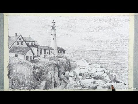 Pencil Drawing | Light House Landscape Drawing step by step