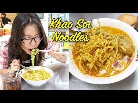 KHAO SOI NOODLES at Or Tor Kor Market in Bangkok, Thailand
