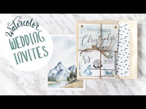 DIY Watercolor Mountain Themed Wedding Invitations