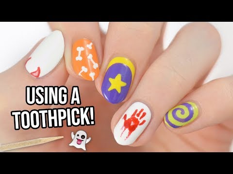 Easy Halloween Nail Art Designs Using A TOOTHPICK!