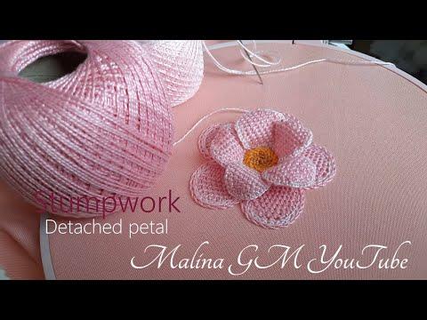 Stumpwork   Detached Embroidery Petal    Amazing Pink Flower   Detached stitch   2 part