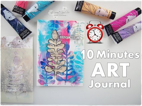 10 Minutes Art Journal with Stencils & Acrylics ♡ Maremi's Small Art ♡