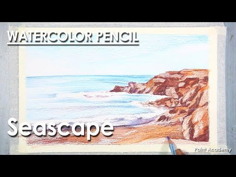 Seascape : Watercolor Pencil Drawing