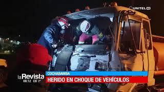 Cisterna impacta contra un camión y deja serios daños materiales en Cochabamba