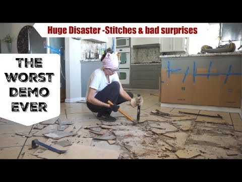 FLOOR DEMO DISASTER , STITCHES & NEW STOVE | Momma From Scratch