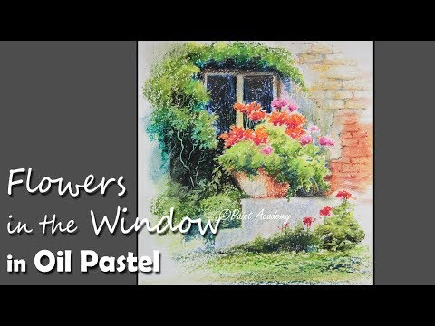 Flowers in the Window painting in Oil Pastel | step by step