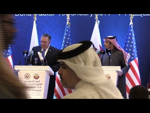 Pompeo gives a press conference with Qatari FM in Doha