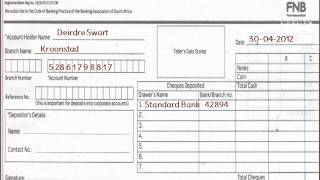 FNB - How to fill FNB or First National Bank Deposit Slip of