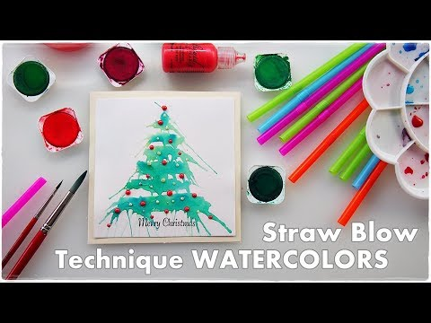 Watercolor Straw Blow Christmas Tree Technique ♡ Maremi's Small Art ♡