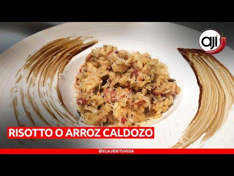 Receta sencilla de risotto con pollo, hongos y bacon  |  Ají