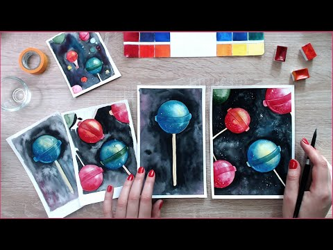 Stay Home & Paint: Watercolor Galaxy Lollipops in Space! Because why not 💁