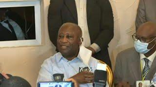 Images de l'ex-président ivoirien Laurent Gbagbo devant ses partisans   AFP Extrait
