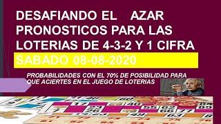 ESTRATEGIAS Y PRONOSTICOS PARA GANAR LA LOTERIA HOY  08-08-2020