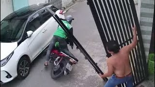 Watch: Lucky Scooterist Avoids Falling Gate - NDTV