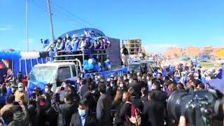 Evo Morales en Caravaca en el Alto con candidatos Zacarias Maquera y Franklin Flores | Bolivia