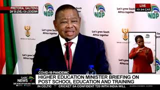 Higher Education Minister Dr Blade Nzimande updates on plans for tertiary institutions