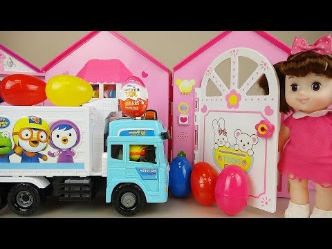 Surprise eggs delivery car and baby doll house toys Baby Doli play