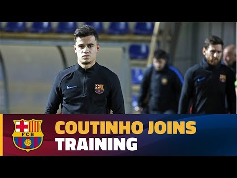 Coutinho joins his new team-mates for part of the session before the match against Betis
