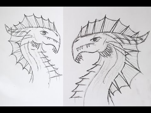How to Draw a Dragon Head With Pencil - Very Simple Tutorial