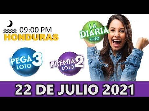 Sorteo 09 PM Loto Honduras, La Diaria, Pega 3, Premia 2, Jueves 22 de julio 2021  
