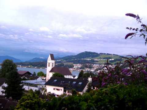 Sunset in Richterswil: View of the church