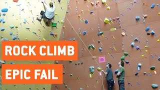 Rock Climber Swings Across Gym | Worst Spotter Ever