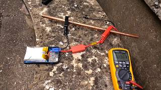 Shorting out a lithium jump starter.  (Part of a larger video.)